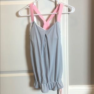 White and pink Lululemon tank top